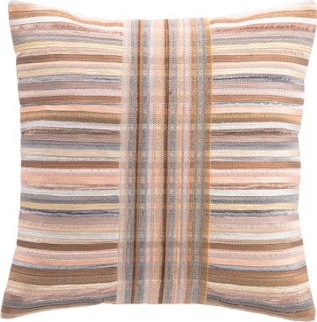 "Designed by Annie herself, this 18"" x 18"" decorative pillow features variegated metallic stripes in on-trend rose gold, pewter, copper, and silver — a perfect gift for someone who's glamourous and chic! A chain stitch embroidery center creates intersecting hues. $160. Annie Selke Pop-up Shop 36 Main St., Lenox, Mass. 413-551-7624 annieselke.com"